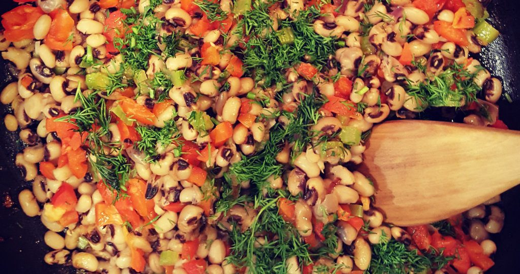 Black-Eyed Peas with Roasted Red Pepper and Dill