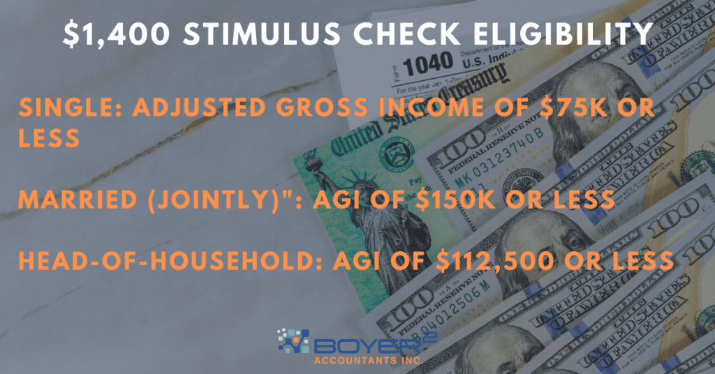 "Text reads ""$1,400 stimulus check eligibility"""